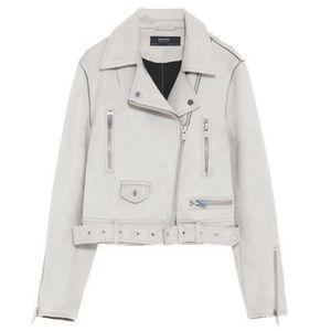 ZARA Faux Suede Light Grey Crop Moto Jacket XS